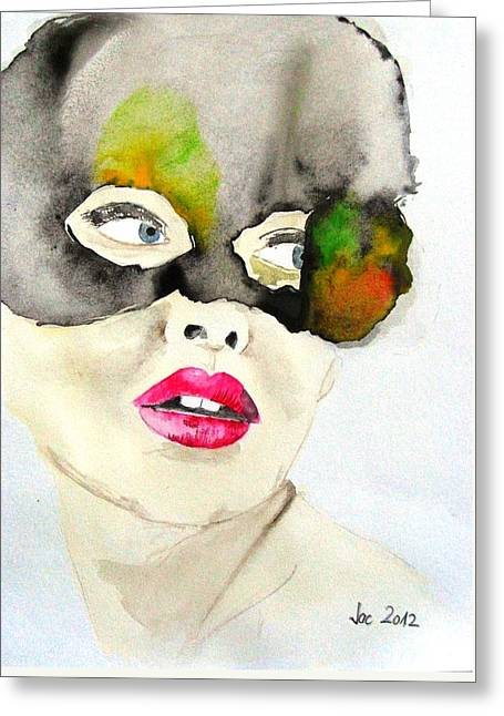 Mask In Watercolor Greeting Card by Jacqueline Schreiber