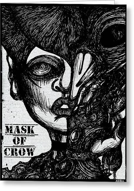 Mask Of Crow Greeting Card by Akiko Okabe