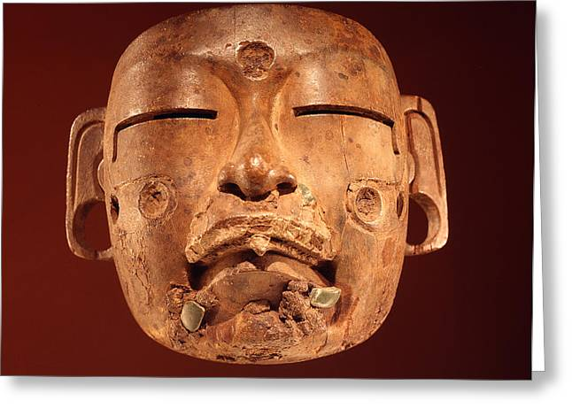Mask, Olmec Culture Wood Greeting Card by Pre-Columbian
