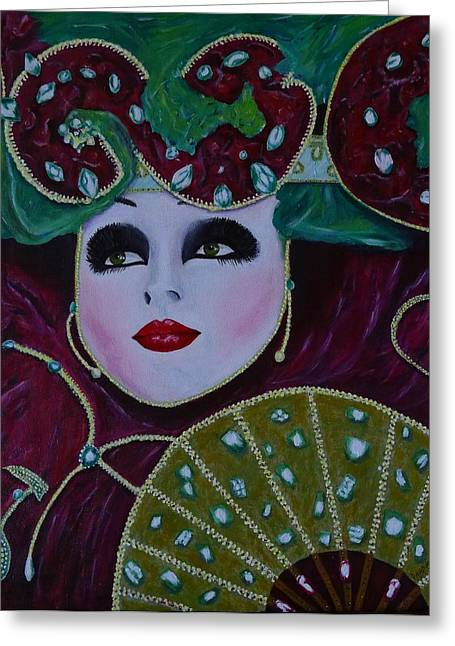 Mask Parade Greeting Card by David Hawkes