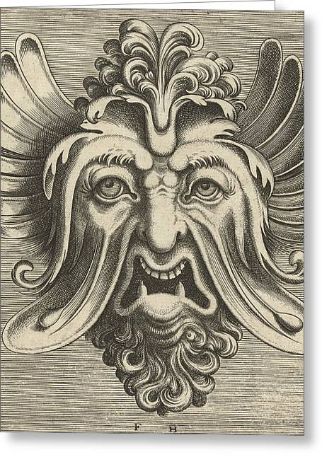 Mask With Sagging Cheeks, Frans Huys, Cornelis Floris II Greeting Card by Frans Huys And Cornelis Floris (ii) And Hans Liefrinck (i)
