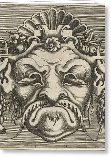 Mask With Two Snakes That Look Out Of The Eye Sockets Greeting Card by Frans Huys And Cornelis Floris (ii) And Hans Liefrinck (i)