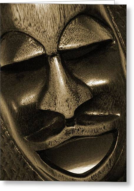 Mask1734 Sepia Greeting Card by Carolyn Stagger Cokley