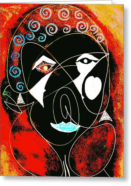 Masked Abstract Greeting Card by Carolyn Repka