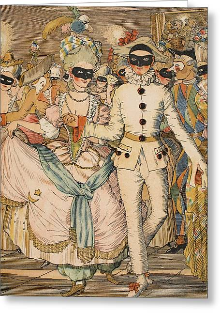 Masked Ball Greeting Card by Konstantin Andreevic Somov
