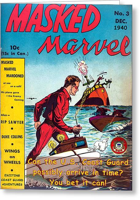 Masked Marvel And The Coast Guard Greeting Card
