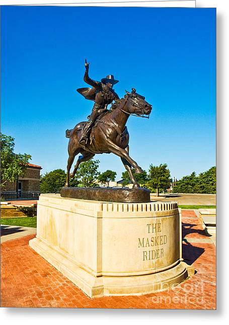 Greeting Card featuring the photograph Masked Rider Statue by Mae Wertz