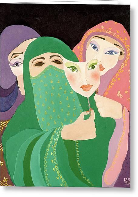 Masks, 1989 Acrylic On Canvas Greeting Card by Laila Shawa