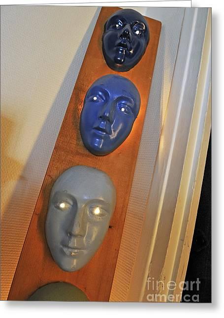 Masks Arragement Greeting Card by Sami Sarkis