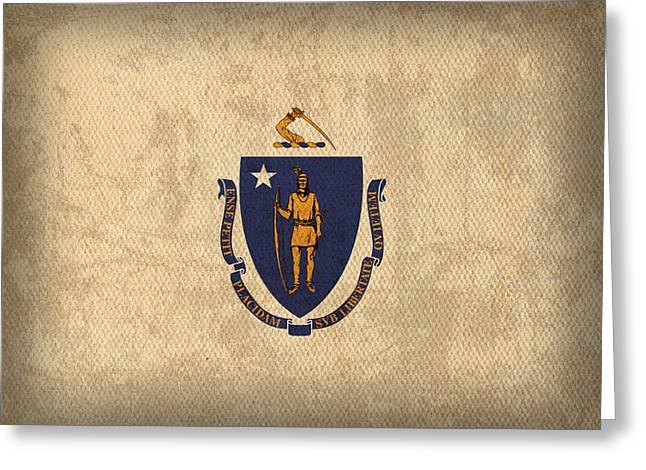 Massachusetts State Flag Art On Worn Canvas Greeting Card