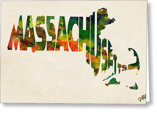Massachusetts Typographic Watercolor Map Greeting Card by Ayse Deniz
