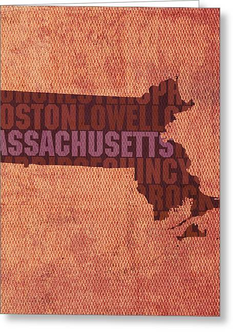 Massachusetts Word Art State Map On Canvas Greeting Card by Design Turnpike