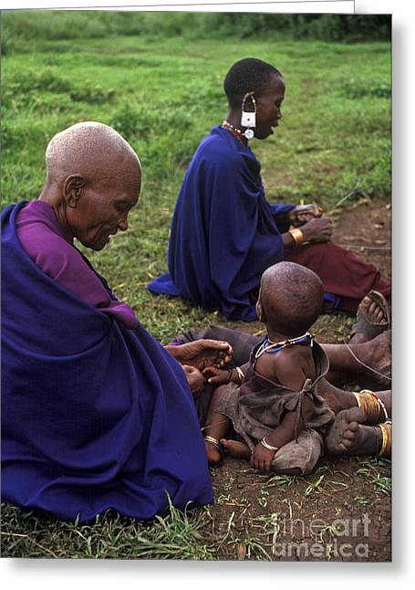 Massai Women And Child - Tanzania Greeting Card by Craig Lovell