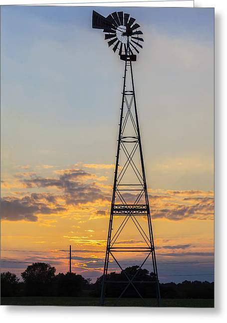 Massey Windmill Silhouette Greeting Card by Brian Wallace