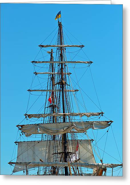 Greeting Card featuring the photograph Mast And Ropes by Marek Poplawski