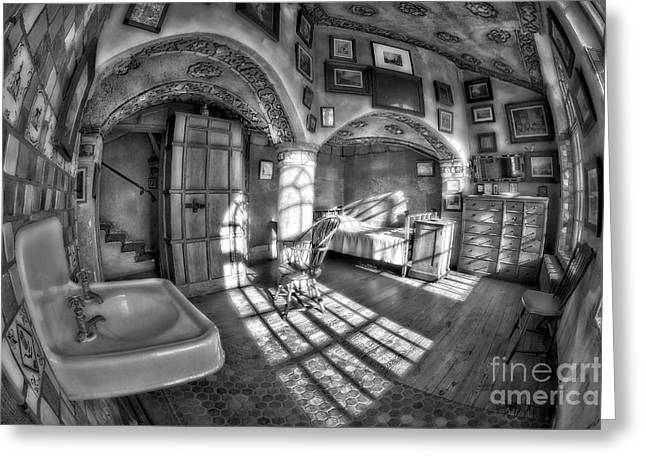 Master Bedroom At Fonthill Castlebw Greeting Card by Susan Candelario