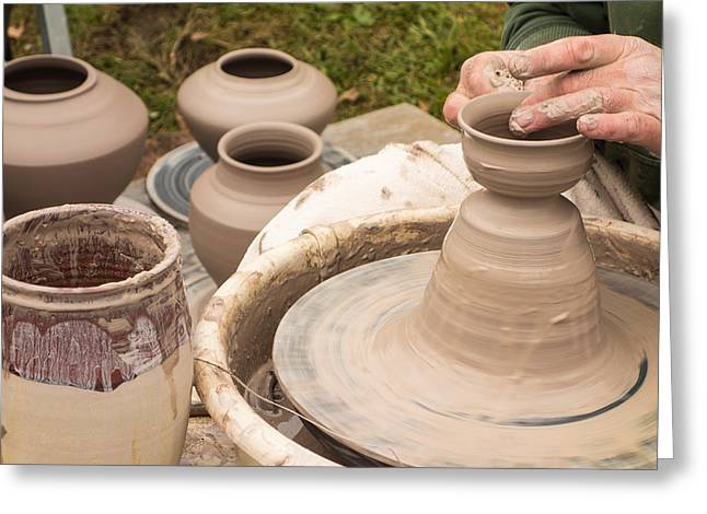 Master Potter Shaping Clay Greeting Card by Dancasan Photography