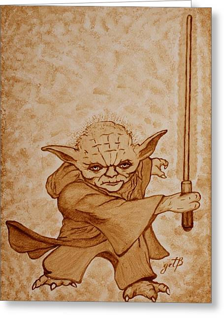 Greeting Card featuring the painting Master Yoda Jedi Fight Beer Painting by Georgeta  Blanaru