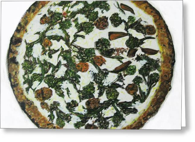 Masterpiece Broccoli Di Rappeand Sausage Pizza   Greeting Card by Pacifico Palumbo