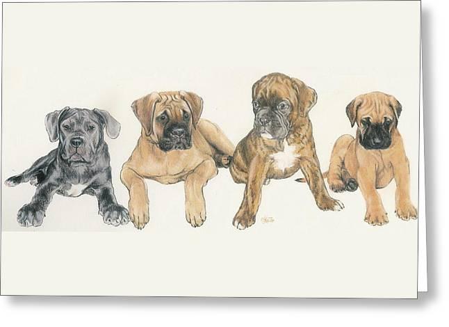 Mastiff Puppies Greeting Card by Barbara Keith