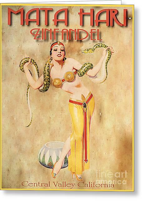 Mata Hari Vintage Wine Ad Greeting Card