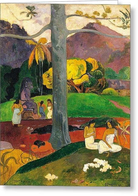 Mata Mua.in Olden Times Greeting Card by Paul Gauguin