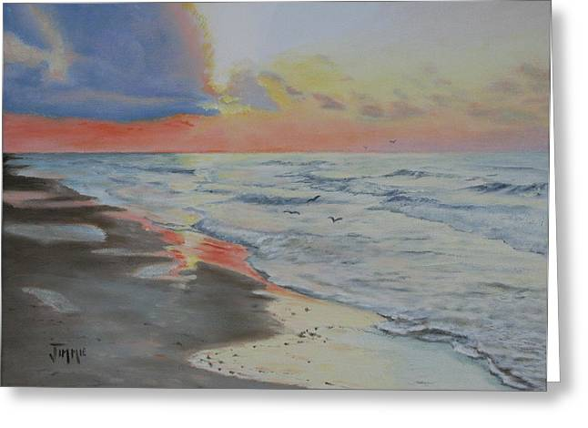 Greeting Card featuring the painting Matagorda Beach Sunrise by Jimmie Bartlett