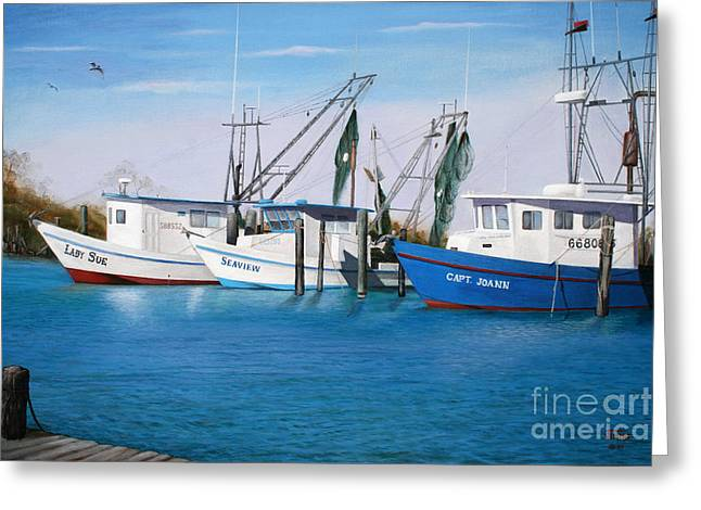 Greeting Card featuring the painting Matagorda Boats by Jimmie Bartlett