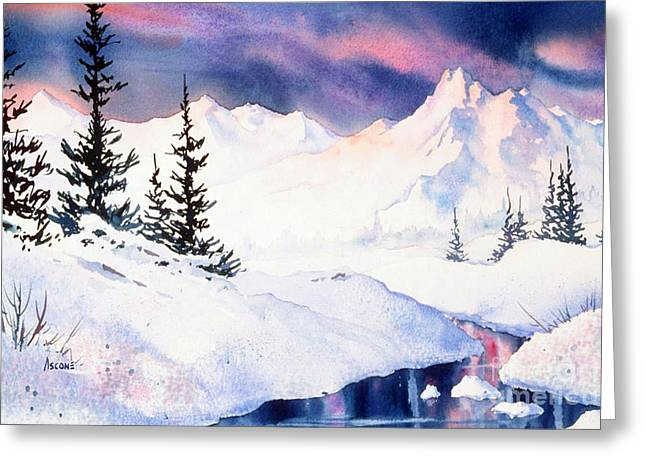 Greeting Card featuring the painting Matanuska Sunset Impression by Teresa Ascone