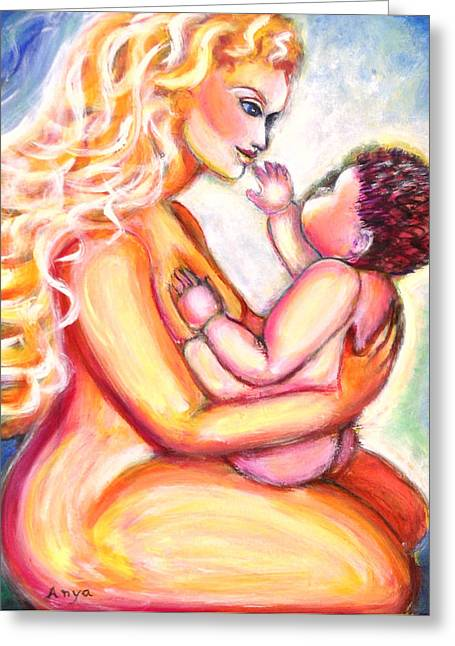 Greeting Card featuring the painting Maternal Bliss by Anya Heller