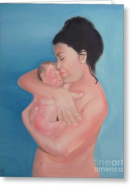 Maternidad / Motherhood Greeting Card by Angela Melendez