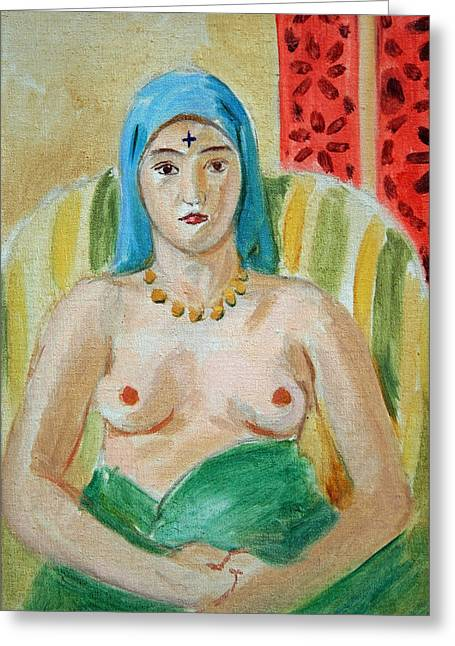 Matisse's Half Length Odalisque With Tattoo Greeting Card by Cora Wandel