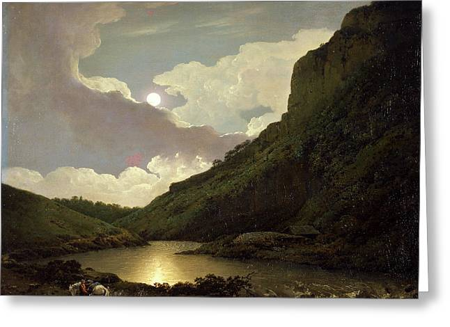 Matlock Tor By Moonlight, Joseph Wright Of Derby Greeting Card by Litz Collection