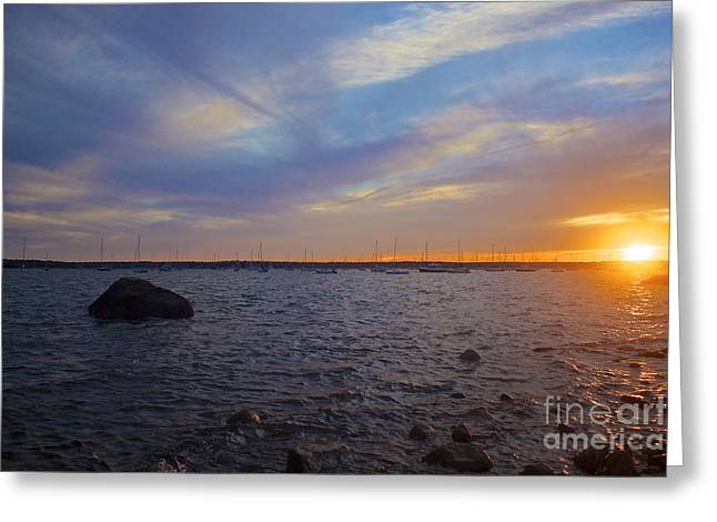Mattapoisett Sunset Greeting Card by Amazing Jules