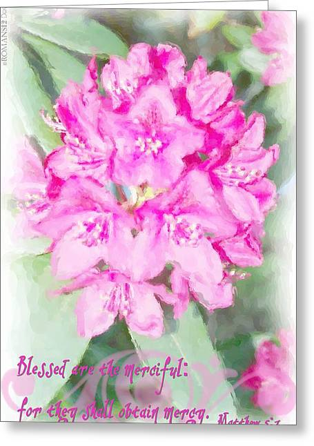 Matthew 5 7 Floral Greeting Card by Michelle Greene Wheeler
