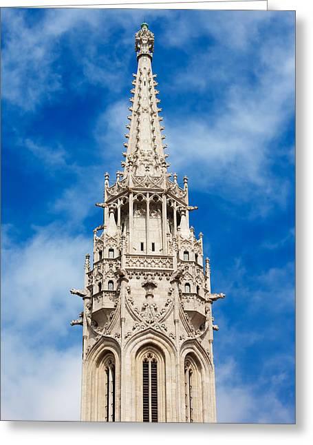 Matthias Church Bell Tower In Budapest Greeting Card by Artur Bogacki