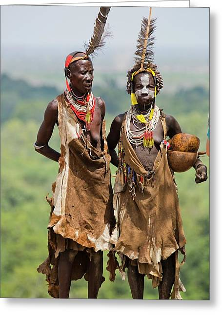 Mature Karo Tribe Women Greeting Card by Photostock-israel
