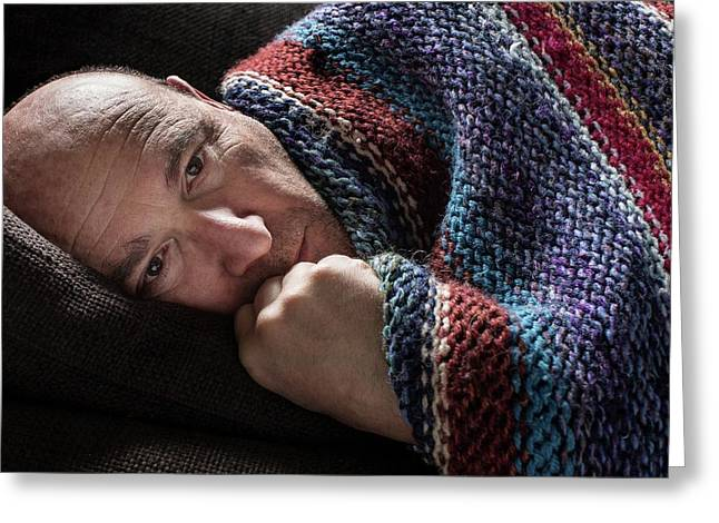 Mature Man In Blanket Greeting Card