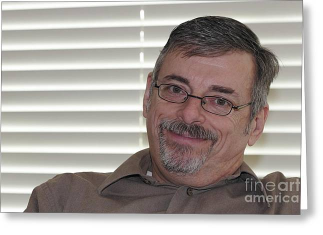 Mature Man Looking At Viewer Greeting Card