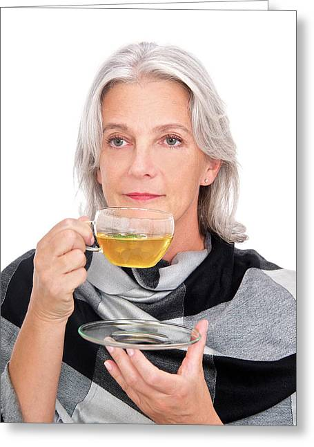 Mature Woman Drinking Herbal Tea Greeting Card by Lea Paterson