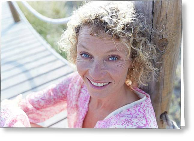 Mature Woman On Boardwalk Greeting Card by Ruth Jenkinson