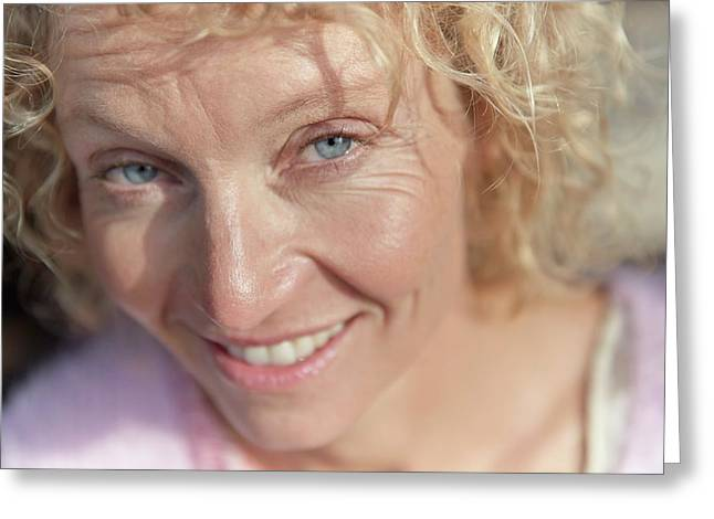Mature Woman Smiling Greeting Card by Ruth Jenkinson