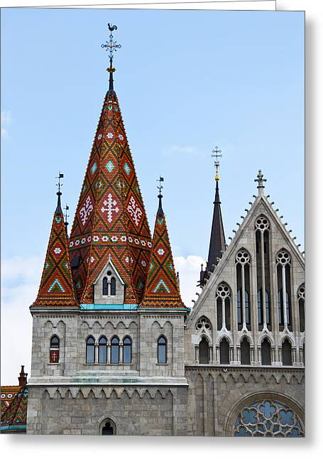Matyas Church With Glazed Tiles In Budapest Hungary Greeting Card