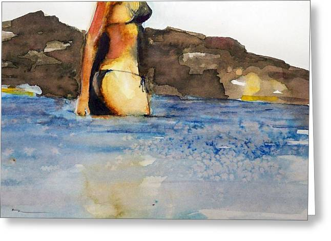 Greeting Card featuring the painting Niue by Ed  Heaton