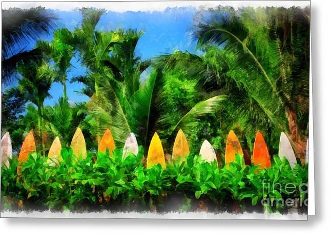 Maui Hawaii Surf Board Fence 4 Greeting Card by Edward Fielding