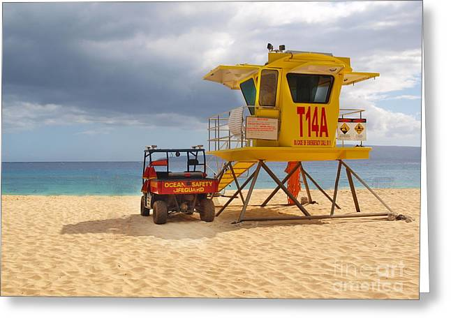 Maui Lifeguard Tower Greeting Card
