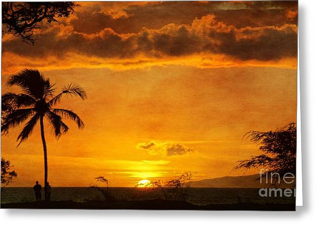 Maui Sunset Dream Greeting Card by Peggy Hughes