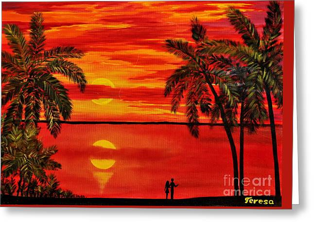 Maui Sunset Greeting Card by Teresa Wegrzyn