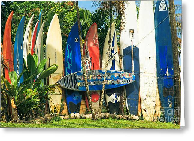 Maui Surfboard Fence - Peahi Hawaii Greeting Card