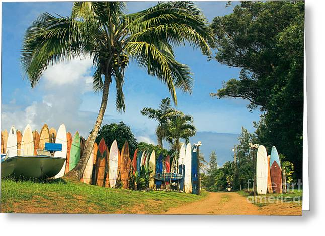 Maui Surfboard Fence - Peahi Greeting Card by Sharon Mau